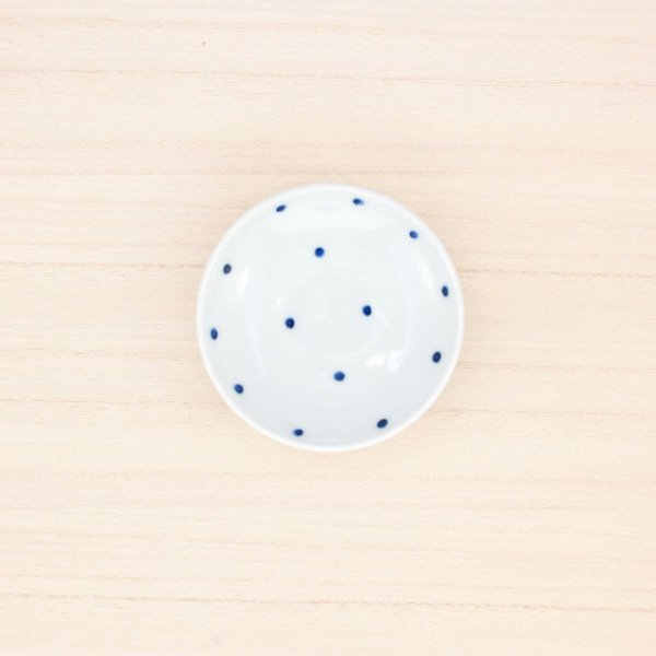 砥部焼・五松園窯 − 豆皿 水玉