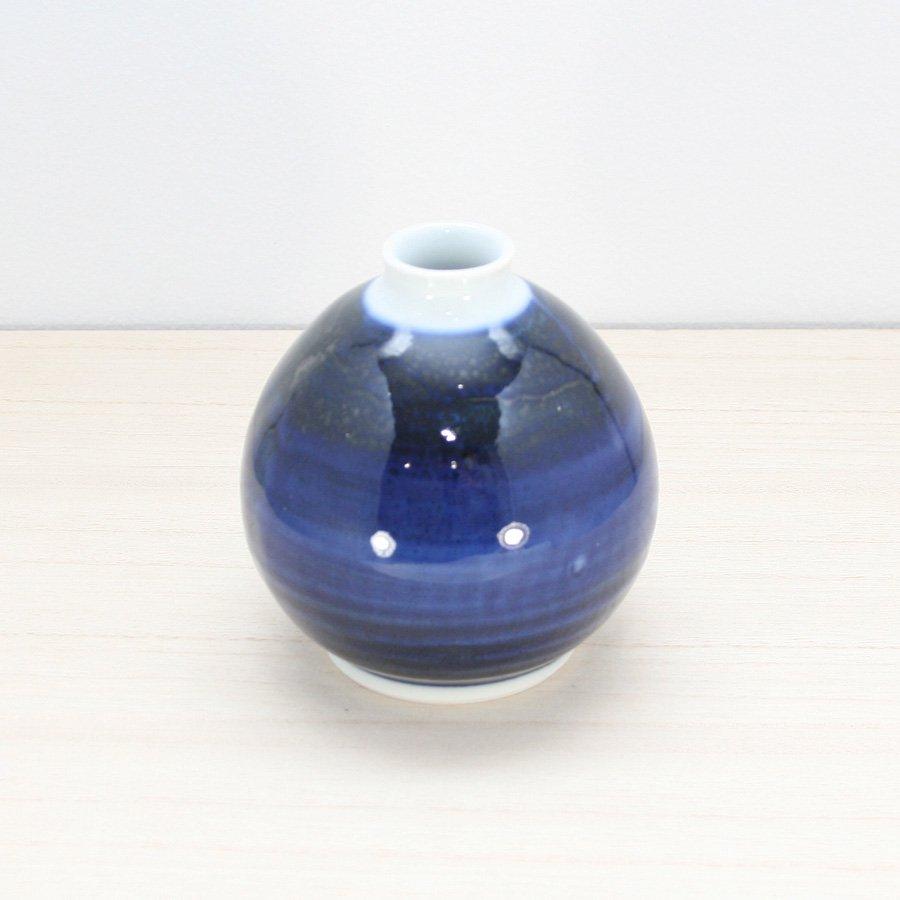 砥部焼・陶房 遊 − ぽってり花器 呉須巻