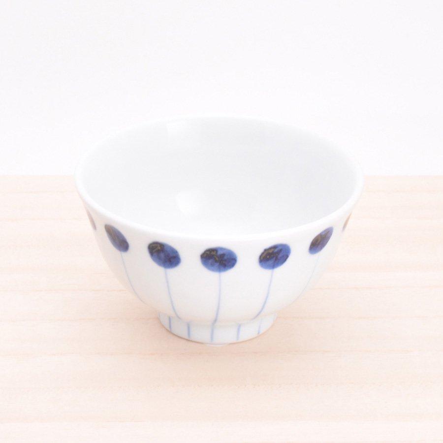 砥部焼・五松園窯 − 口反り茶碗 丸と線(大)