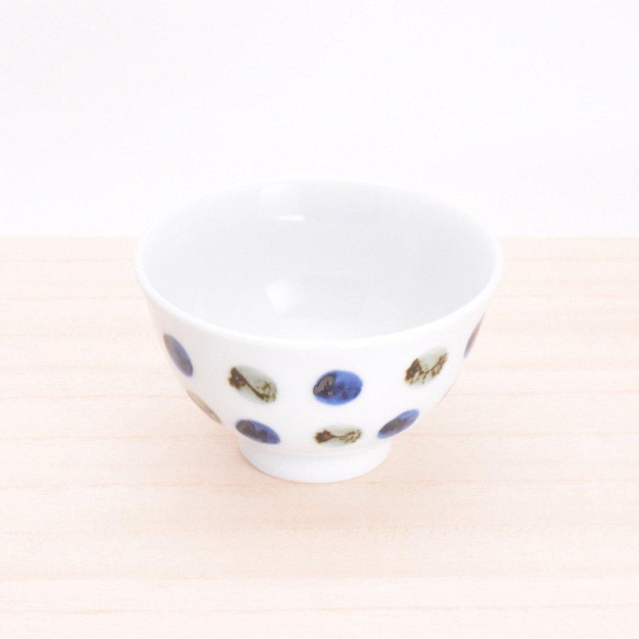 砥部焼・五松園窯 − 口反り茶碗 鉄水玉(小)