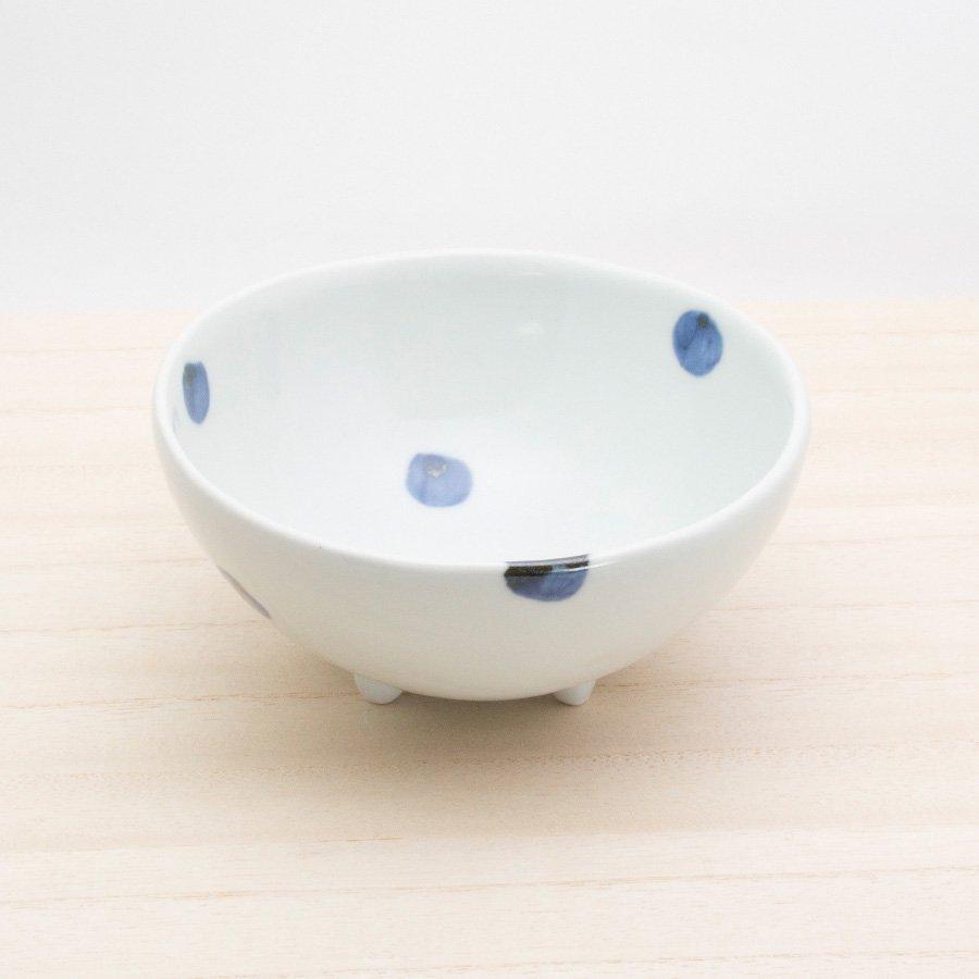 砥部焼・梅乃瀬窯 − 足付コロコロ鉢(大) 点文