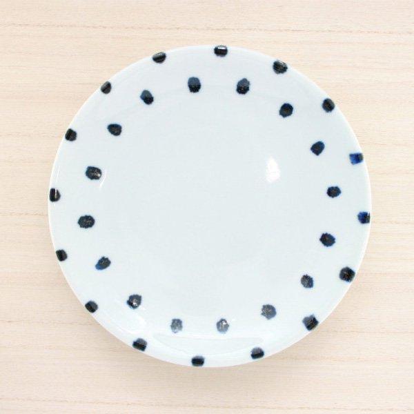 砥部焼・雲石窯 − 6寸皿 豆絞り
