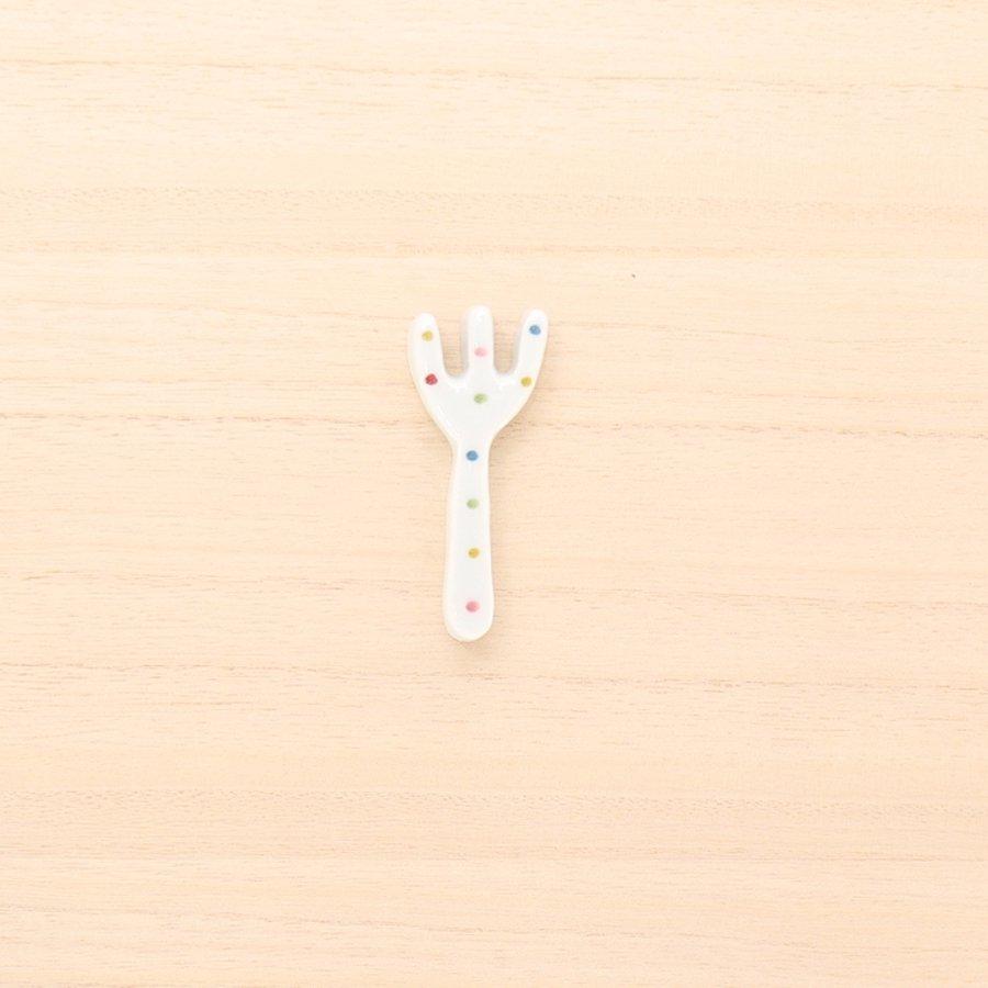 砥部焼・皐月窯 − はしおき フォーク カラードット