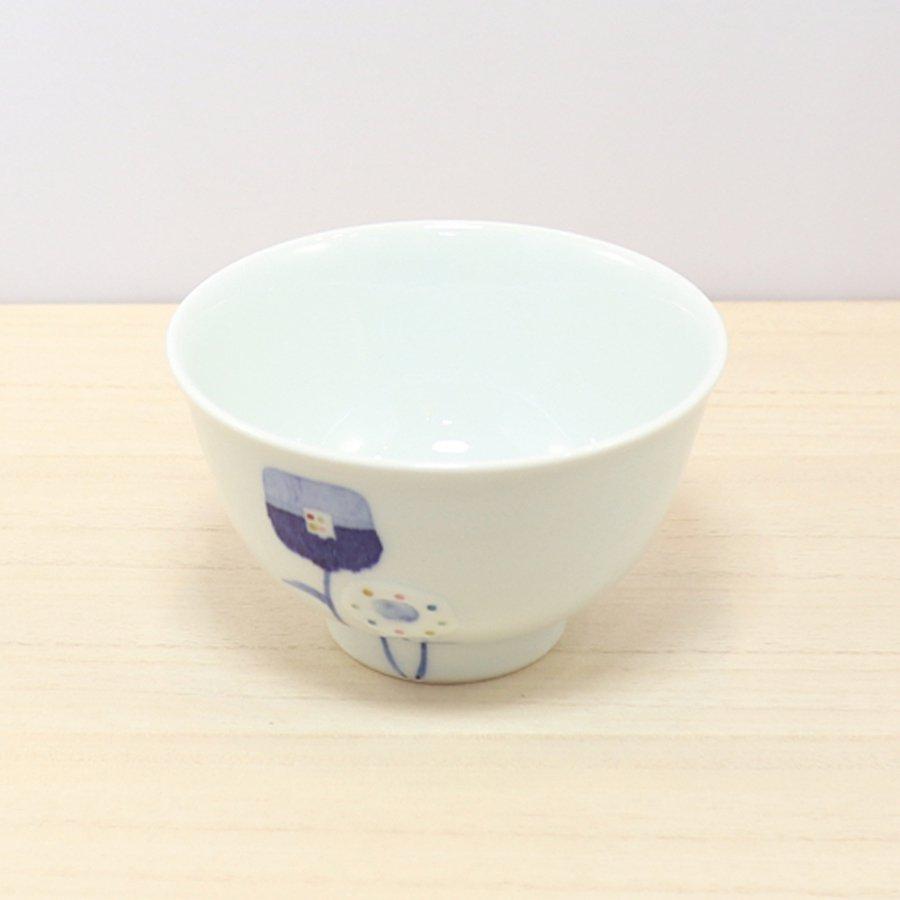 砥部焼・皐月窯 − 茶碗 花