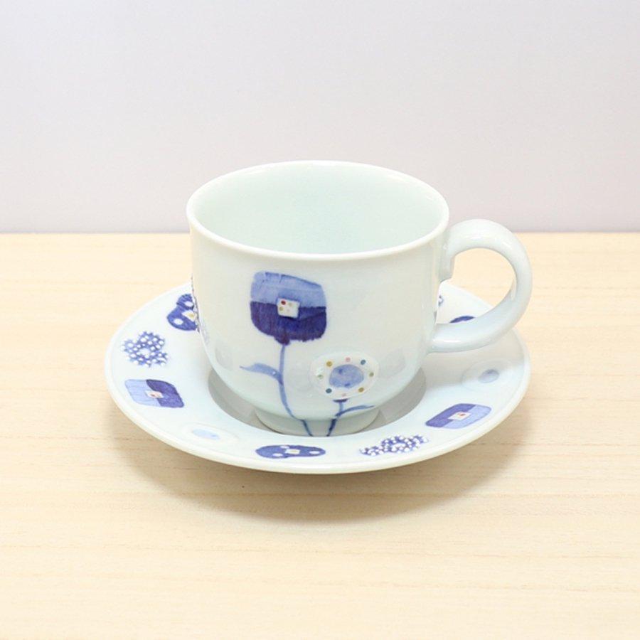 砥部焼・皐月窯 − コーヒーカップ&ソーサー 花