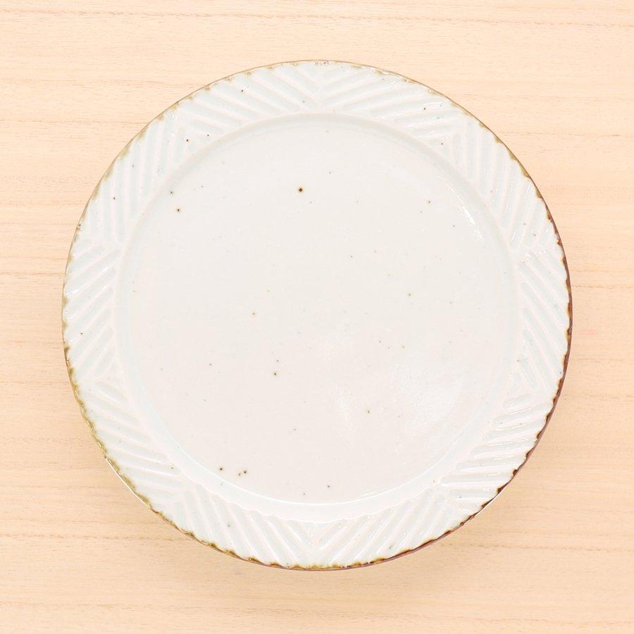 砥部焼・皐月窯 − 7寸リム皿 ヘリンボーン