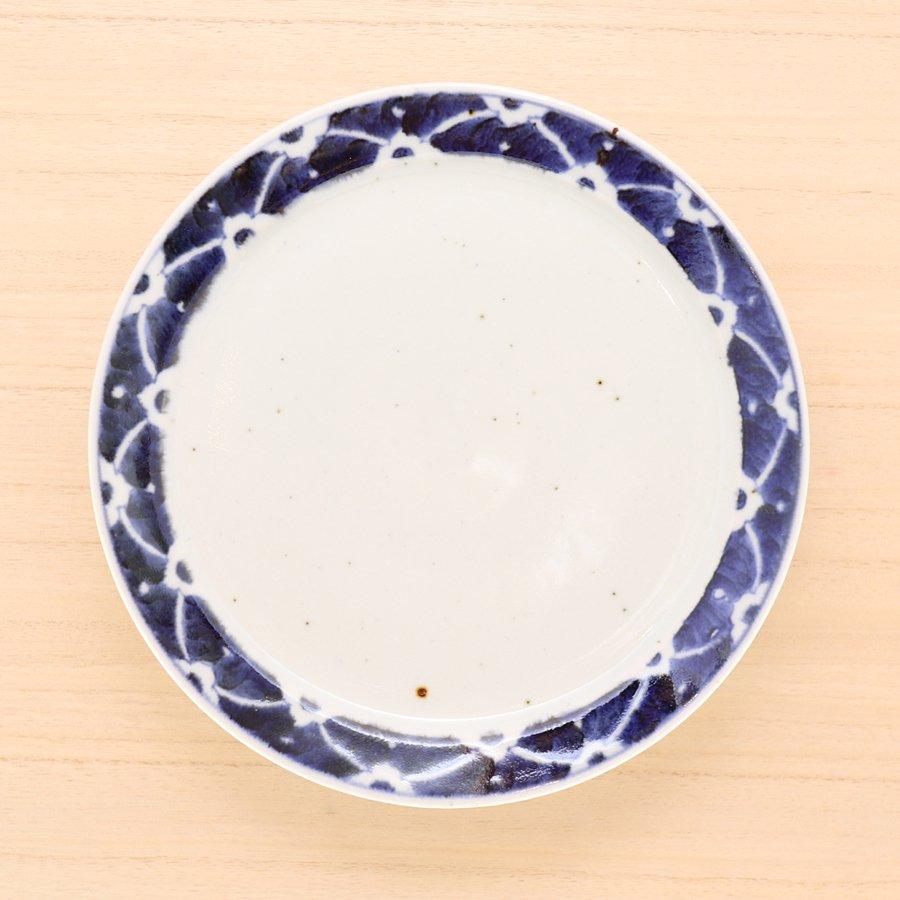 砥部焼・皐月窯 − 7寸リム皿 染付花