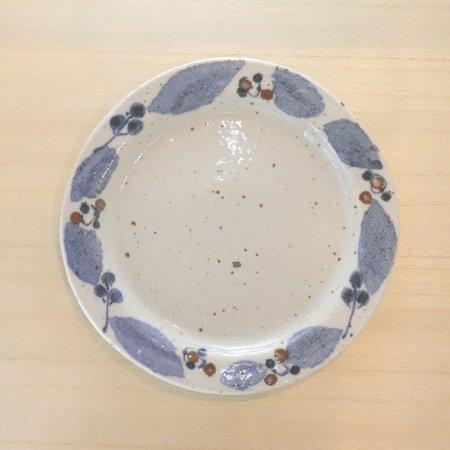 砥部焼・森陶房 − リム皿 大 ブルー木の葉
