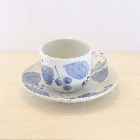 砥部焼・森陶房 − カップ&ソーサー ブルー木の葉