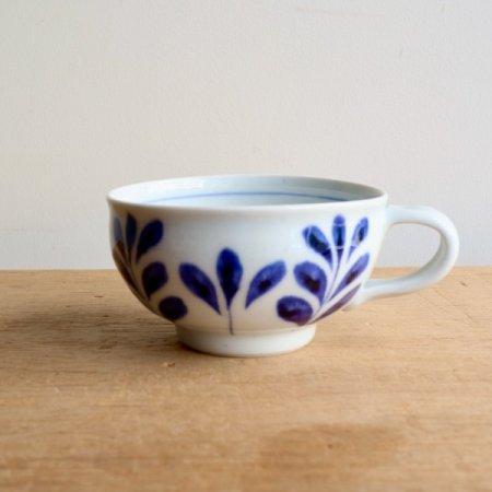 砥部焼・陶房 遊 − スープカップ ブルーリーフ