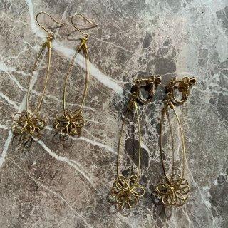 【麻と木と・・・】<br>真鍮無垢<br>立体お花