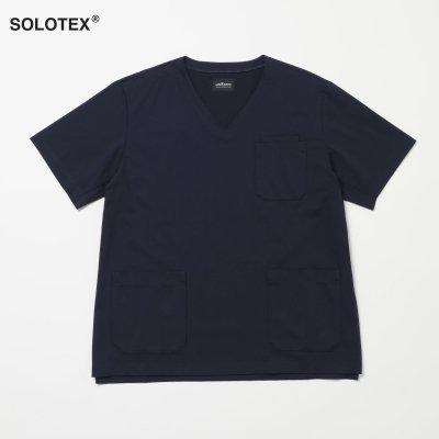 SOLOTEX使用 ハイテンションニットスクラブ トップ ネイビー MEN