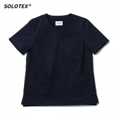 SOLOTEX使用 ハイテンションニットスクラブ トップ ネイビー WOMEN