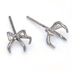 ブラスロジウムシルバー925メッキクロウクロウ ピアスパーツ 5つ爪