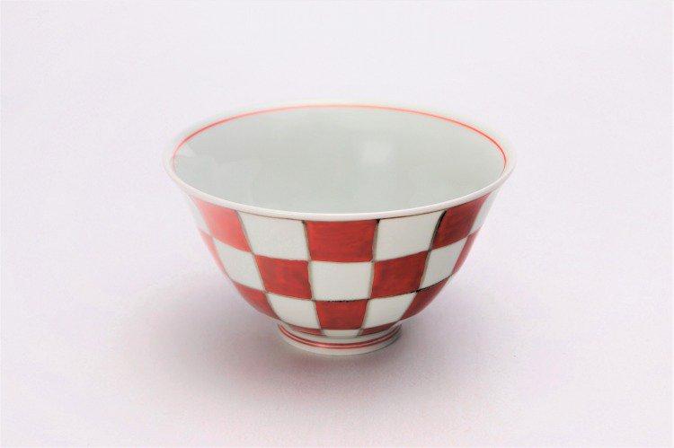 そうた窯 染錦赤市松 ASA飯碗 画像メイン