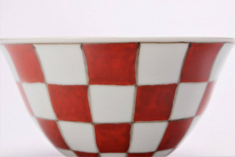 ☆そうた窯 染錦赤市松 ASA飯碗 画像サブ2