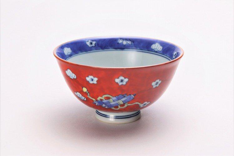 ☆徳七窯 染錦赤濃宝袋 茶付(小) 画像メイン