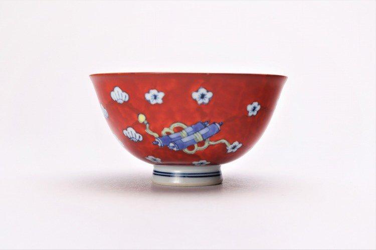 ☆徳七窯 染錦赤濃宝袋 茶付(小) 画像サブ1