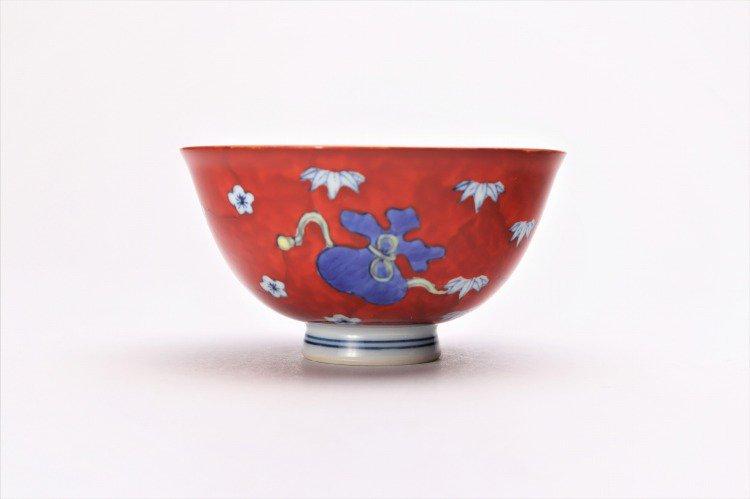 ☆徳七窯 染錦赤濃宝袋 茶付(小) 画像サブ2