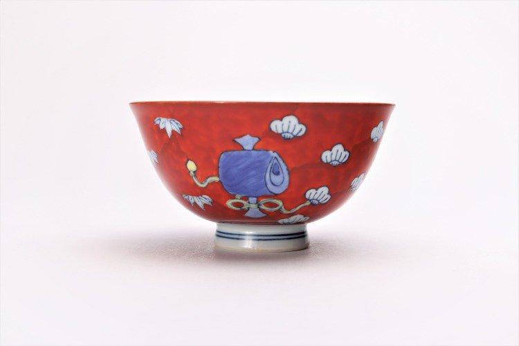 ☆徳七窯 染錦赤濃宝袋 茶付(小) 画像サブ3