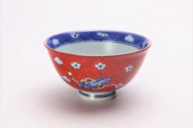徳七窯 染錦赤濃宝袋 茶付(小)