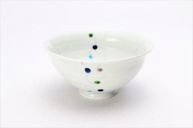一峰窯 色珠(帯)青 ひねり飯碗(大) 在庫3個