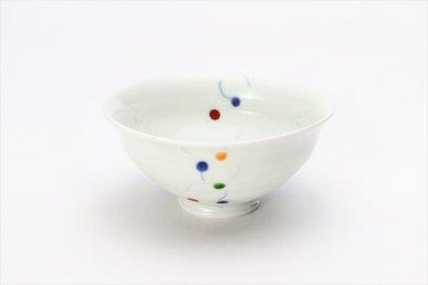 一峰窯 色珠(帯)朱 ひねり飯碗(小) 在庫3個