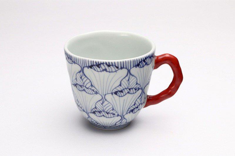そうた窯 染付花弁紋 マグカップ(赤) 画像メイン