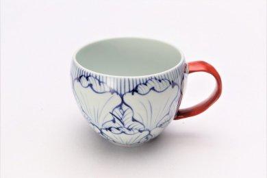 ☆そうた窯 染付花弁紋 丸スープカップ(赤)