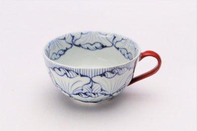 ☆そうた窯 染付花弁紋 スープカップ(赤)
