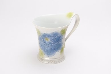☆文山窯 青牡丹パールラスター 流転マグカップ