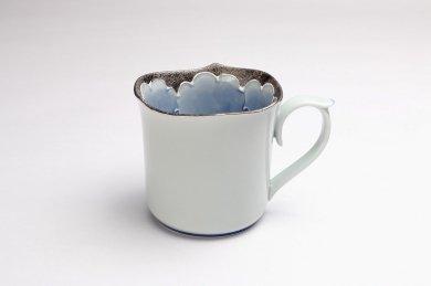 文山窯 プラチナ牡丹 輪花マグカップ