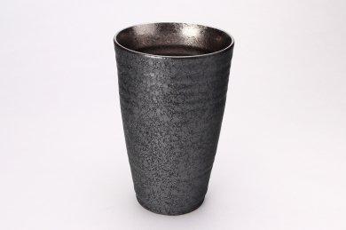 陶悦窯 黒晶掛分内銀塗り 特大フリーカップ