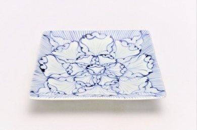 そうた窯 染付花弁紋 正角皿