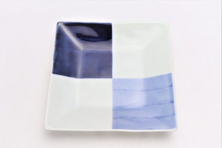 ☆そうた窯 染付和市松 正角皿 画像サブ2