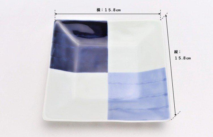 ☆そうた窯 染付和市松 正角皿 画像サブ5