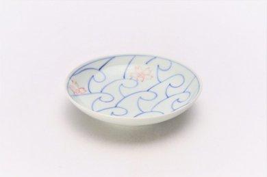 ☆そうた窯 染付波桜 3.5寸多用皿