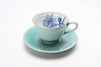 三宅製陶所 青磁染付バラ絵 コーヒーC/S