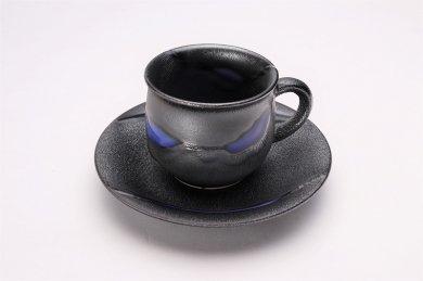 ☆杏土窯 銀彩ブルー コーヒーC/S