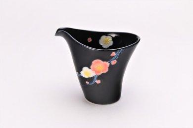 文山窯 黒釉花 片手酒器