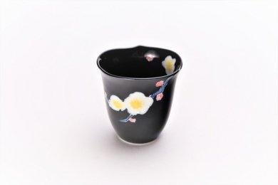 ☆文山窯 黒釉花輪花 ミニカップ