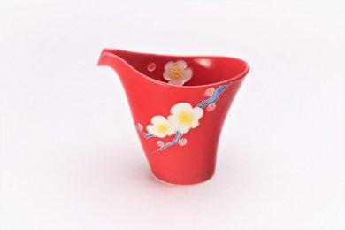 ☆文山窯 赤釉花 片手酒器