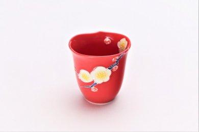 ☆文山窯 赤釉花輪花 ミニカップ