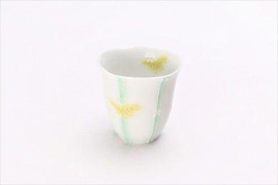 ☆文山製陶 白釉竹輪花 ミニカップ