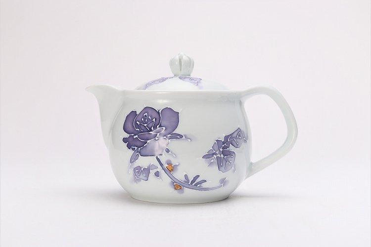 バラ(紫) つまみ菊割ポット(大) 在庫3個 画像サブ1