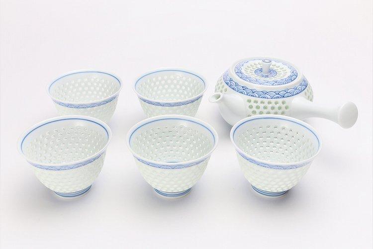 水晶青海波 茶器セット 画像メイン