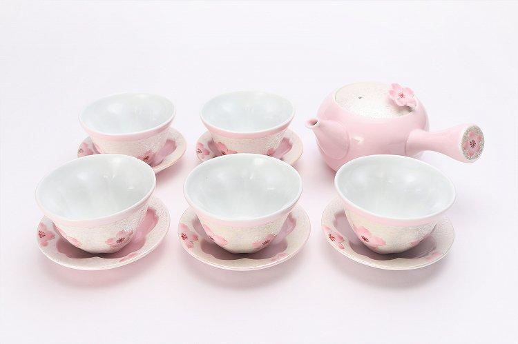 田清窯 薄ピンク釉虹彩桜 茶器セット 画像メイン