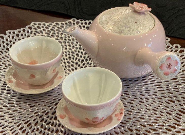 田清窯 薄ピンク釉虹彩桜 茶器セット 画像サブ21