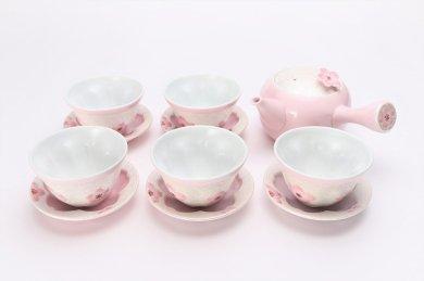 田清窯 薄ピンク釉虹彩桜 茶器セット