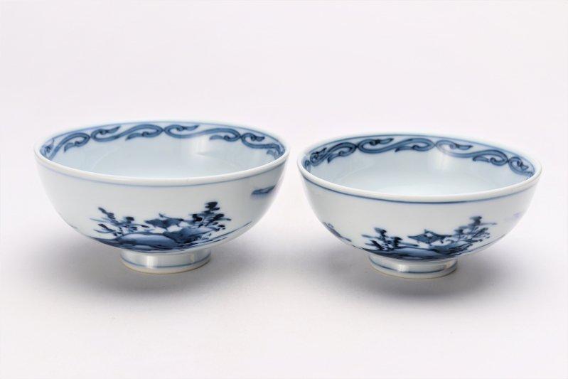亮秀窯古代山水 組飯碗 画像メイン